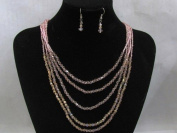 Blingalove 5 Row Bicone Faceted Crystal Glass Necklace And Earrings Set AB & Pink Colour