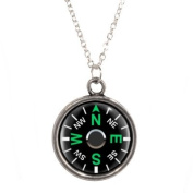 Silver Plated Chain Necklace with Compass Design Pendant