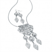 Large Pendant Fashion Necklace & Drop Pierced Earrings Set Antique Silver