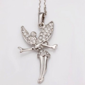 Tinkerbell style fairy charm Rhodium plated with chain Branded Gift boxed included