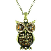Brown on Antique Gold Long Owl Necklace