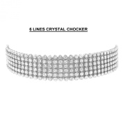 OMYGOD Crystal choker necklace - 6 lines