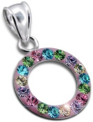Genuine 925 Sterling Silver Round Pendant with Multi Coloured Crystal Stones - FREE GIFT BOX
