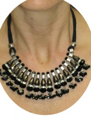 (6277) Diamante Glass Beaded Spike Effect Necklace Black