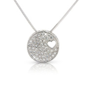Christmas Medallion - Silver Tone - White Gold Plated Crystal Love Heart Necklace Pendant - Gift - Present