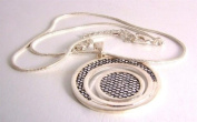 Ladies fashion necklace silver coloured metal chain with sparkly disc pendant - 12416