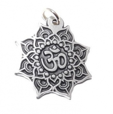 Black Pewter Lotus Flower OM (Aum) Hindu Pewter Pendant / Necklace
