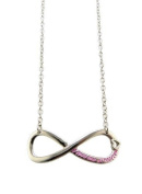 """Directioner New Rare Silver/Pink Colour Infinite Directioner(TM) Pendant w/3mm 18"""" Link Chain Necklace XC331RPK"""