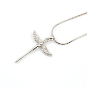925 Sterling Silver Dainty Cross Guardian Angel Necklace - Genuine 925 Silver stamped Christening Gift Christmas gift