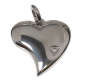 Stainless steel pendant heart with stone approx. 20mm