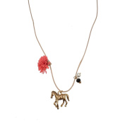 W.A.T Beige Cord Flower And Gold Horse Charm Necklace