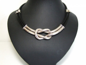 Stunning Chunky Black Leather Cord Silver Knot Necklace