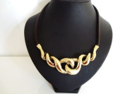 Stunning Chunky Brown Leather Cord Gold Twist Necklace