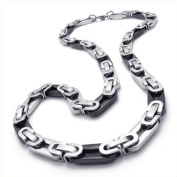 Konov Jewellery Men's Stainless Steel Necklace Link Chain, Colour Black Silver, Width 8mm, Length 56cm 22 inch