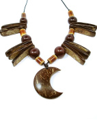 Jewellery Of The Planet Brazilian Hand Made Coconut Tribal Necklace With Moon Shaped Pendant
