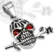 "Urban HQ Stainless Romantic Skull with Red Gemmed Eyes and a Rose Pendant - Approx size 33mm x 36.5mm incuding bale (1.3"" wide x 1.4"" long) Supplied on A 20"" Chain Necklace"