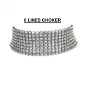 OMYGOD Clear crystal choker necklace - 8 lines