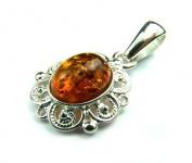 Lovely 925 Sterling Silver & Baltic Amber Designer Pendant K271