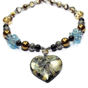 Heart of Blue Sea Sediment Japser in Pyrite & Brown Freshwater Shell Necklace Natural Gemstone Jewellery Tantric Tokyo