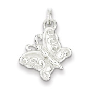 Sterling Silver Polished Butterfly Charm - JewelryWeb