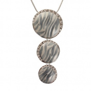 Bedazzled Black and White Enamel Animal Print Discs Necklace with Crystal Stones and Silver colour - Gift Boxed