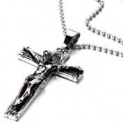 Stainless Steel Gothic Crucifix Cross Necklace Pendant Necklace with 80cm Steel Ball Chain