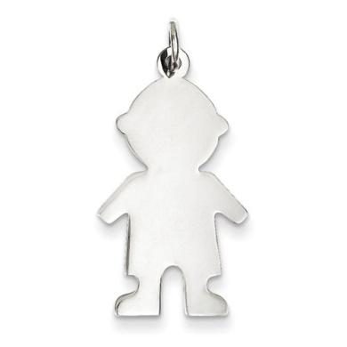 Sterling Silver Engraveable Boy Disc Charm - JewelryWeb