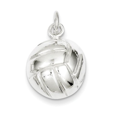 Sterling Silver Volleyball Charm - JewelryWeb