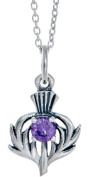 Toucan of Scotland Sterling Silver Thistle pendant with Stone - 15mm x 12mm with 18 inch curb chain and supplied in our quality gift box.