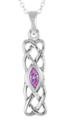 STERLING SILVER CELTIC BIRTHSTONE PENDANT JEWELLERY OCTOBER 20 MM BY 6MM WITH 18 INCH CHAIN COMES WITH QUALITY GIFT BOX