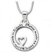 Great Holiday Gift Circle Heart Sterling Silver 925 Necklace