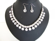 Stunning Chunky Crystal Stone Silver Links Style Necklace Earring Set Bridal Jewellery