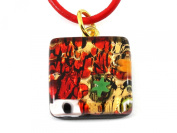 Genuine Murano Glass Pendant - Beautiful in Red on Gold Leaf with Millefiori, 2cm x 2cm with 'Murano Glass' print on rear - Includes Gift Box