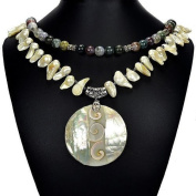 Natural Mother of Pearl, Shiva Eye, Indian Agate & Blister Pearl 48cm Statement Necklace Handmade Jewellery Tantric Tokyo