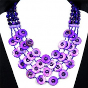 Natural Violet Freshwater Shell Ladies 48cm Statement Necklace Handmade Gemstone Jewellery by Tantric Tokyo