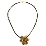 Necklace flower olive-gold-coloured enamelled 50cm