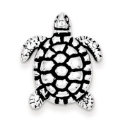 Sterling Silver Antiqued Turtle Charm - JewelryWeb