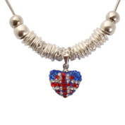 Bedazzled Red, Clear and Blue Crystal Union Jack Heart Charm Retro Necklace with Silver colour - Gift Boxed