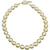 Pearl Necklace with. Crystal Flower in Cream