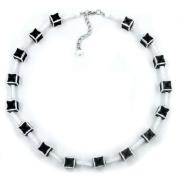 Necklace dice 10mm black-white-grey 45cm