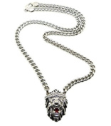 """New Iced Out Silver Colour Lion Face Pendant w/8mm 30"""" Cuban Link Chain Necklace XC341R"""