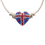 Bedazzled Red, Clear and Blue Crystal Union Jack Heart Fashion Retro Necklace with Silver colour - Gift Boxed