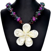 3D Flower Mother of Pearl, Botswana Agate & Fire Crystal 50cm Pendant Necklace Handmade Gemstone Jewellery Tantric Tokyo