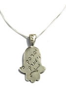 Mizze Made For Luck Jewellery Sterling Silver Hamsa Hand Charm Necklace For Protection