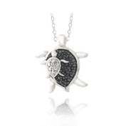 Sterling Silver Black Diamond Accent Mother & Baby Turtle Necklace
