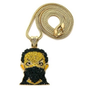 Iced Out GOON MASK Pendant w/Franco Chain Gold Yellow/Black SM GAP17G/YL/BK