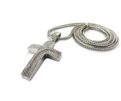 New Iced Out Silver Curved Incline Cross Pendant w/90cm Franco Chain Necklace XHP34R