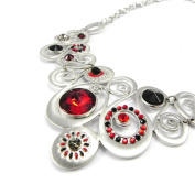 """Necklace 'french touch' """"Sissi"""" red silvery."""
