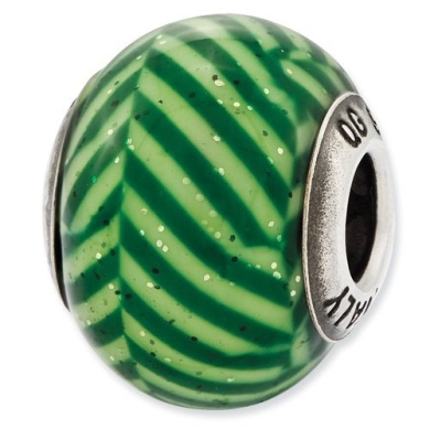 Sterling Silver Reflections Italian Green Stripes With Glitter Glass Bead Charm - JewelryWeb
