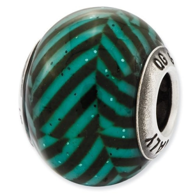 Sterling Silver Reflections Italian Teal Stripes With Glitter Glass Bead Charm - JewelryWeb